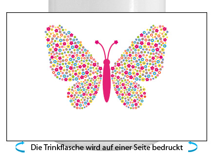 Schmetterling Alu-Trinkflasche mit Schraubverschluss, 500ml bunt