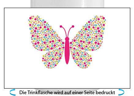 Schmetterling Alu-Trinkflasche mit Sportverschluss bunt