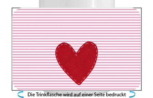 Herz Mädchen Alu-Trinkflasche mit Kinderverschluss, 500ml rosa