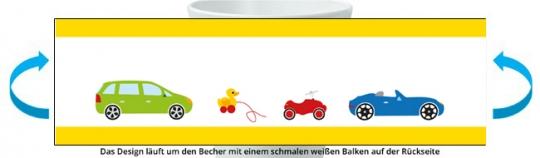 Autos Becher gelb