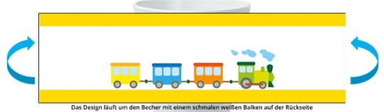 Eisenbahn Becher gelb
