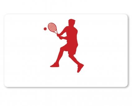 Tennis Spieler Brettchen dunkelrot