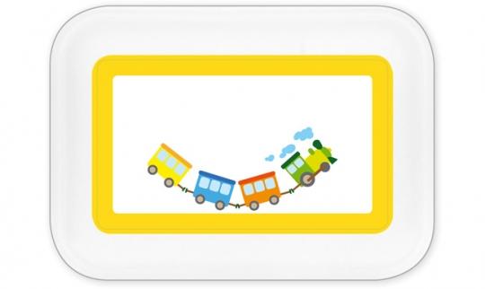 Eisenbahn Brotdose groß gelb
