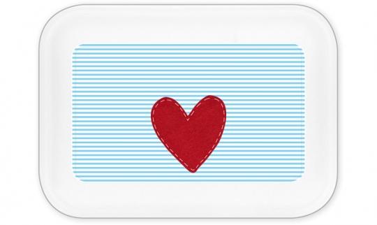 Herz Jungen Brotdose groß hellblau