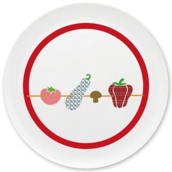 Gemüse-Spießerin Grill-/ Pizzateller dunkelrot