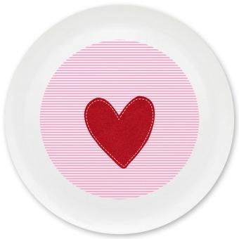 Herz Mädchen Grill-/ Pizzateller rosa