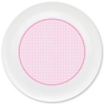 Kleinkariert Mädchen Grill-/ Pizzateller rosa