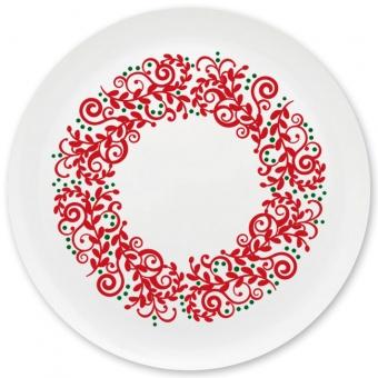Weihnachtskranz Grill-/ Pizzateller dunkelrot
