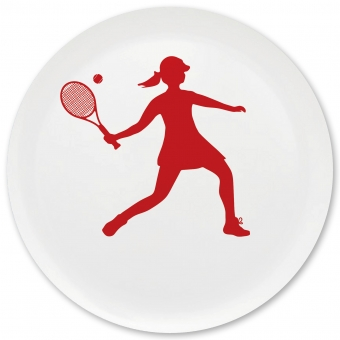 Tennis Spielerin Grill-/ Pizzateller dunkelrot