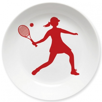 Kinderteller Tennis Spielerin dunkelrot