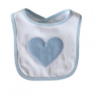 Baby Lätzchen Vichy Herz Jungen hellblau