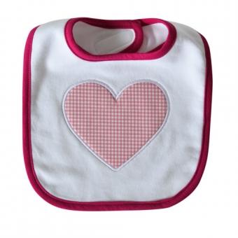 Baby Lätzchen Vichy Herz Mädchen rosa