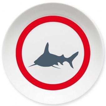 Weißer Hai Schale rot