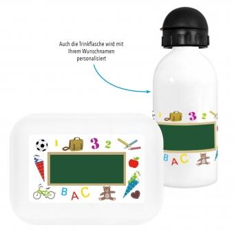 Schultafel Brotdose und Trinkflasche Geschenk zum Schulanfang bunt