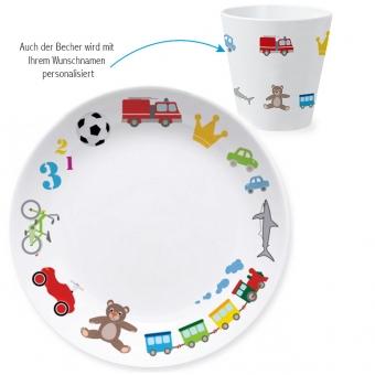 Spielzeug Jungen Kindergeschirr Set zum 1. Geburtstag bunt