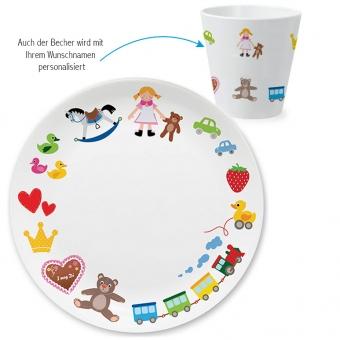 Spielzeug Mädchen Kindergeschirr Set zum 1. Geburtstag bunt