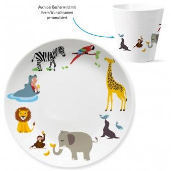 Zoo Kindergeschirr Set zum 1. Geburtstag bunt