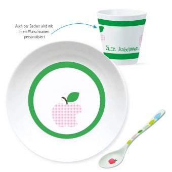 Apfelbiss Geschenk Set zur Geburt grün