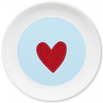 Herz Jungen Großer Teller hellblau