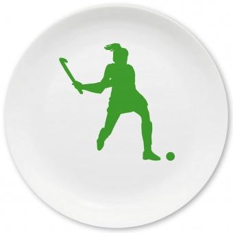 Hockey Spielerin Großer Teller grün