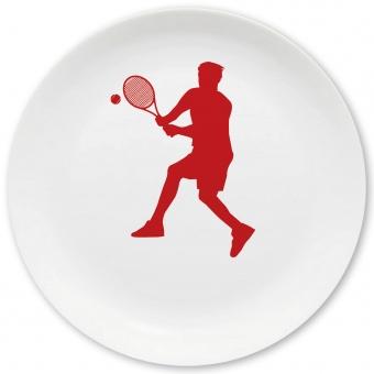 Tennis Spieler Großer Teller dunkelrot