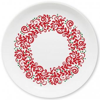Weihnachtskranz Großer Teller dunkelrot